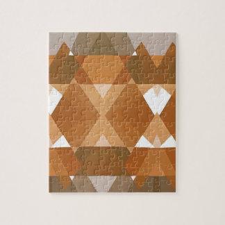 Vintage Art Deco Pochoir Jazz Tan Geometric Shapes Jigsaw Puzzle
