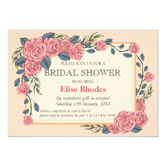 Vintage art deco roses golden frame wedding card