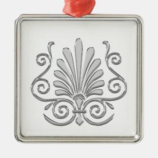 Vintage Art Deco Silver Plume Arabesque Metal Ornament