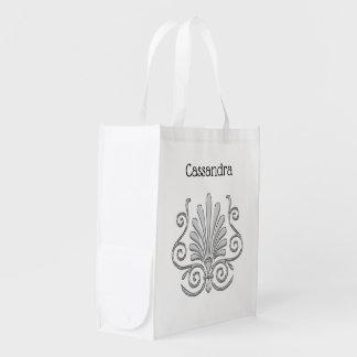 Vintage Art Deco Silver Plume Arabesque Reusable Grocery Bag