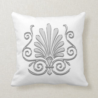Vintage Art Deco Silver Plume Arabesque Throw Pillow