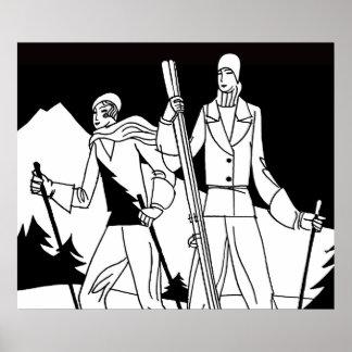 Vintage Art Deco Ski Couple Skiers Illustration Poster