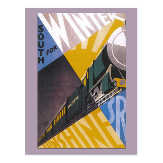 Vintage Art Deco Southern Railway travel ad Postcard