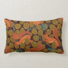 Vintage Art Deco Squirrel and Leaves Design Lumbar Pillow