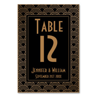 Vintage Art Deco Style Fans Wedding Table Number