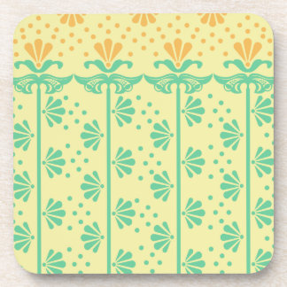 Vintage Art-deco Stylized-flowers floral Pattern Coaster