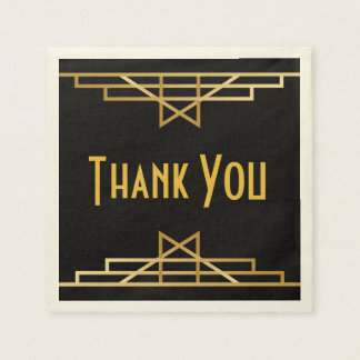 Vintage Art Deco Thank You Black & Gold Gatsby Paper Napkin