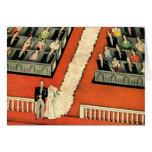 Vintage Art Deco Wedding, Bride Groom Newlyweds Greeting Card