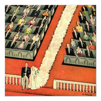 "Vintage Art Deco Wedding, Bride Groom Newlyweds 5.25"" Square Invitation Card"