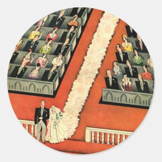 Vintage Art Deco Wedding, Bride Groom Newlyweds Round Sticker