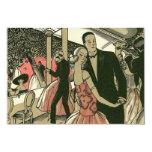 "Vintage Art Deco Wedding, Newlyweds First Dance 3.5"" X 5"" Invitation Card"