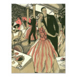 "Vintage Art Deco Wedding, Newlyweds First Dance 4.25"" X 5.5"" Invitation Card"