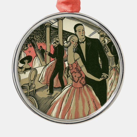 Vintage Art Deco Wedding, Newlyweds First Dance Metal Ornament