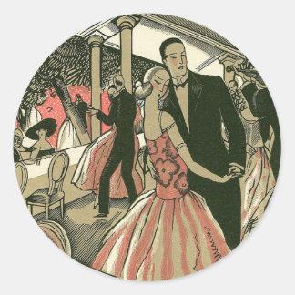 Vintage Art Deco Wedding, Newlyweds First Dance Round Sticker