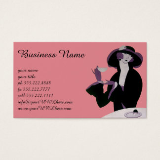 Vintage Art Deco Woman, Afternoon Tea and Cupcake Business Card