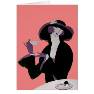 Vintage Art Deco Woman, Afternoon Tea and Cupcake Card