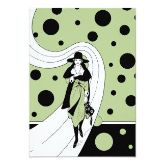 Vintage Art Deco Woman Polka Dots Bridal Shower Card