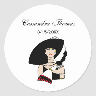 Vintage Art Deco Woman Wearing Hat Gloves Color Classic Round Sticker