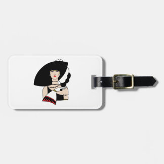 Vintage Art Deco Woman Wearing Hat Gloves Color Luggage Tag