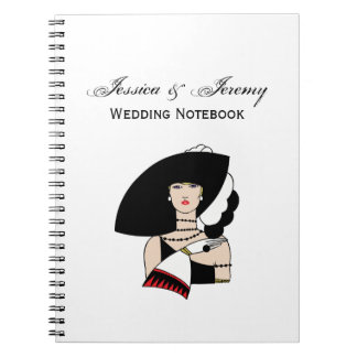 Vintage Art Deco Woman Wearing Hat Gloves Color Notebook