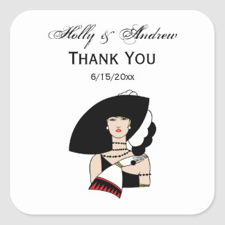 Vintage Art Deco Woman Wearing Hat Gloves Color Square Sticker