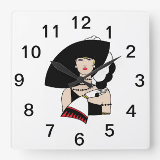 Vintage Art Deco Woman Wearing Hat Gloves Color Square Wall Clock