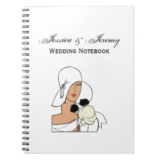Vintage Art Deco Woman with Flowers Wearing Hat C Notebook