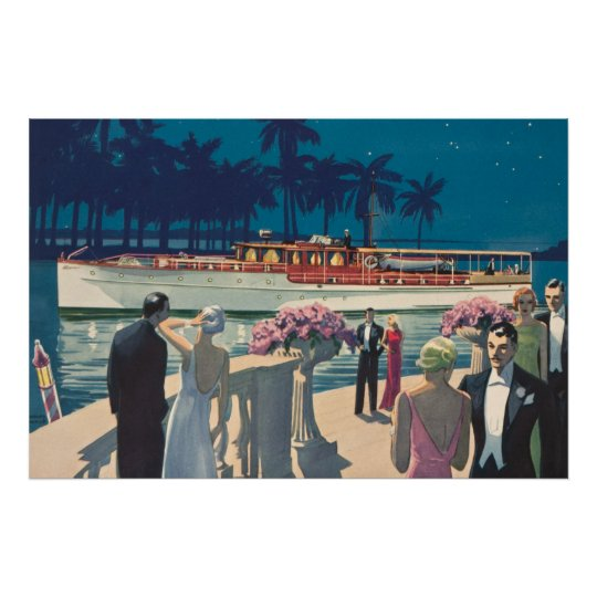 Vintage Art Deco Yacht Boat Cocktail Party Fashion Poster