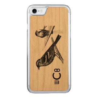 Vintage Art Design: Two Birds w/Monogram Pattern Carved iPhone 7 Case