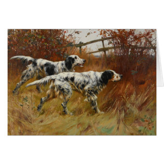 Vintage Art - English Setter Dogs in the Field, Card