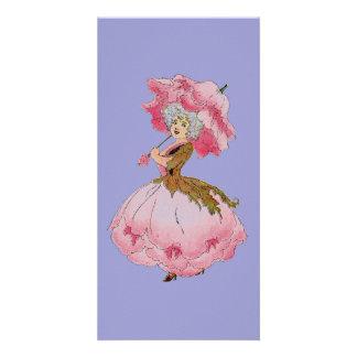 Vintage art flower fairy Peony note card Photo Card