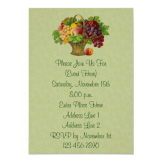 Vintage Art Fruit Basket Invitation