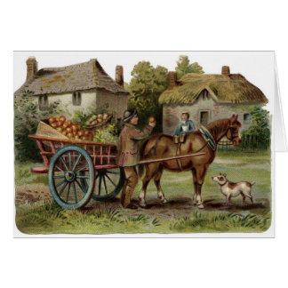 Vintage Art - Horse-Drawn Apple Cart, Card