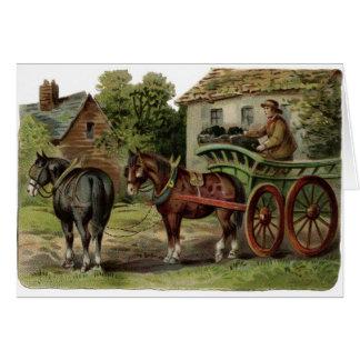 Vintage Art - Horse-Drawn Coal Cart, Card