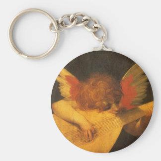 Vintage Art, Musician Angel by Rosso Fiorentino Basic Round Button Keychain