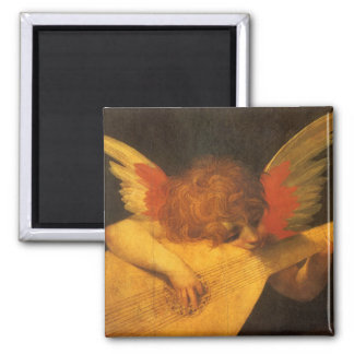 Vintage Art, Musician Angel by Rosso Fiorentino Square Magnet