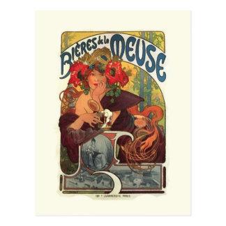 Vintage Art Nouveau Alphonse Mucha Postcard