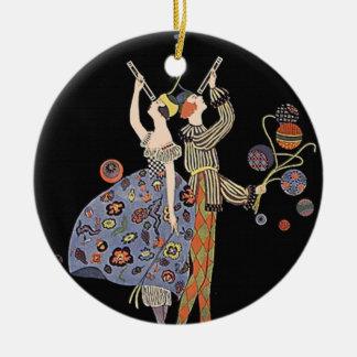 Vintage Art Nouveau Art Deco Holiday Party Round Ceramic Ornament