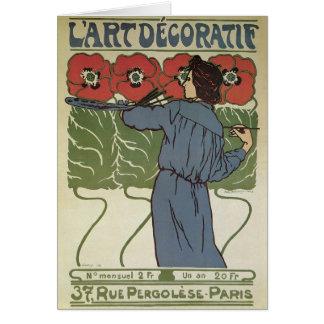 Vintage Art Nouveau, Artist Painting Poppy Flowers Card
