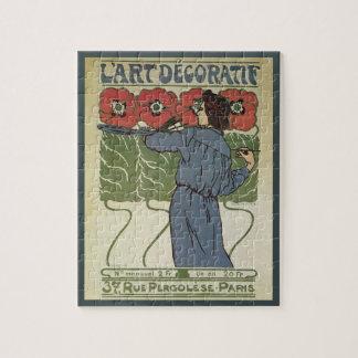 Vintage Art Nouveau, Artist Painting Poppy Flowers Puzzles