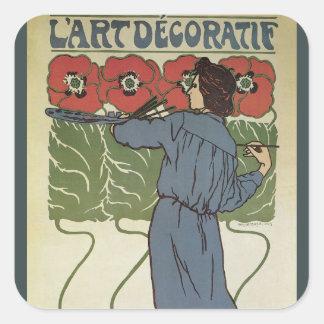 Vintage Art Nouveau, Artist Painting Poppy Flowers Square Sticker