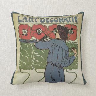 Vintage Art Nouveau, Artist Painting Poppy Flowers Throw Pillow