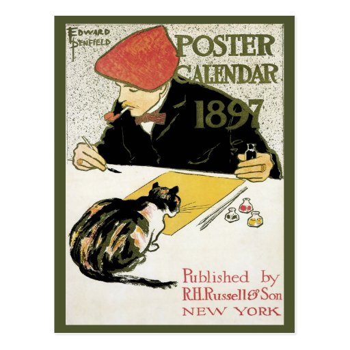 Vintage Art Nouveau; Artist Painting with Pet Cat Postcards
