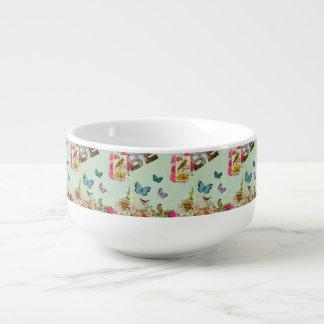 vintage,art nouveau,beige,grey,art deco, french,ru soup mug