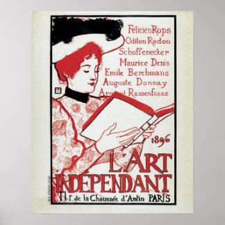Vintage art nouveau Belgian art book presentation Poster