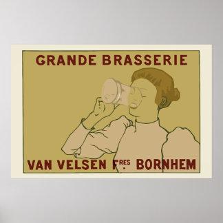Vintage Art Nouveau Belgian Beer ad Poster