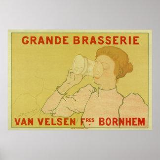 Vintage Art Nouveau Belgium Beer ad Poster