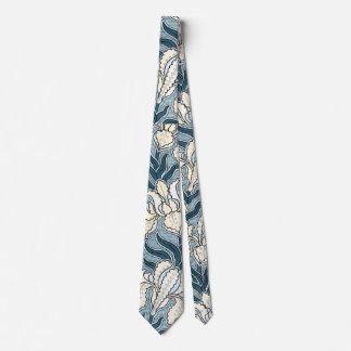 Vintage Art Nouveau, Blue Garden Iris Flowers Tie