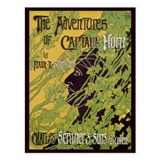 Vintage Art Nouveau Book, Captain Horn Adventures Postcard