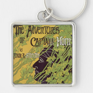 Vintage Art Nouveau Book, Captain Horn Adventures Silver-Colored Square Keychain